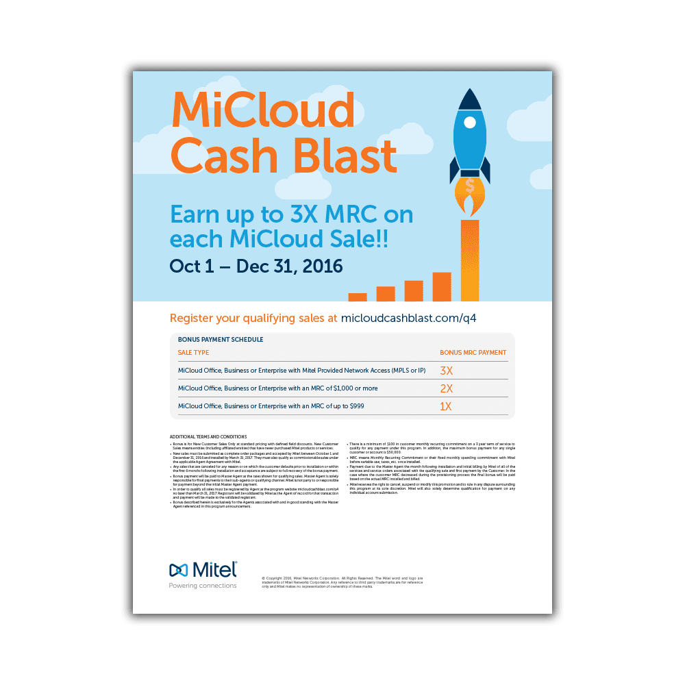 Mitel MiCloud Cash Blast 2016 Flyer