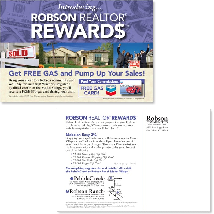 Robson Realtor Rewards Postcard