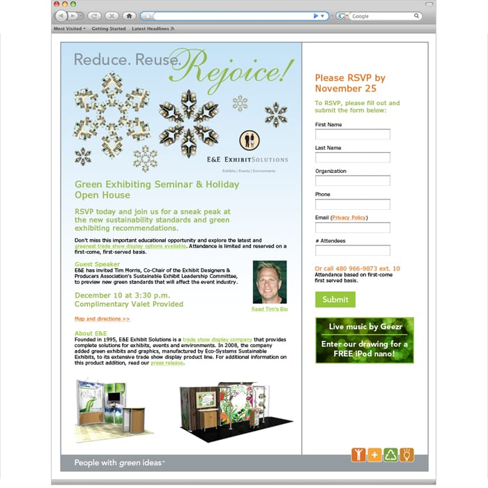 E&E Exhibit Solutions Landing Page