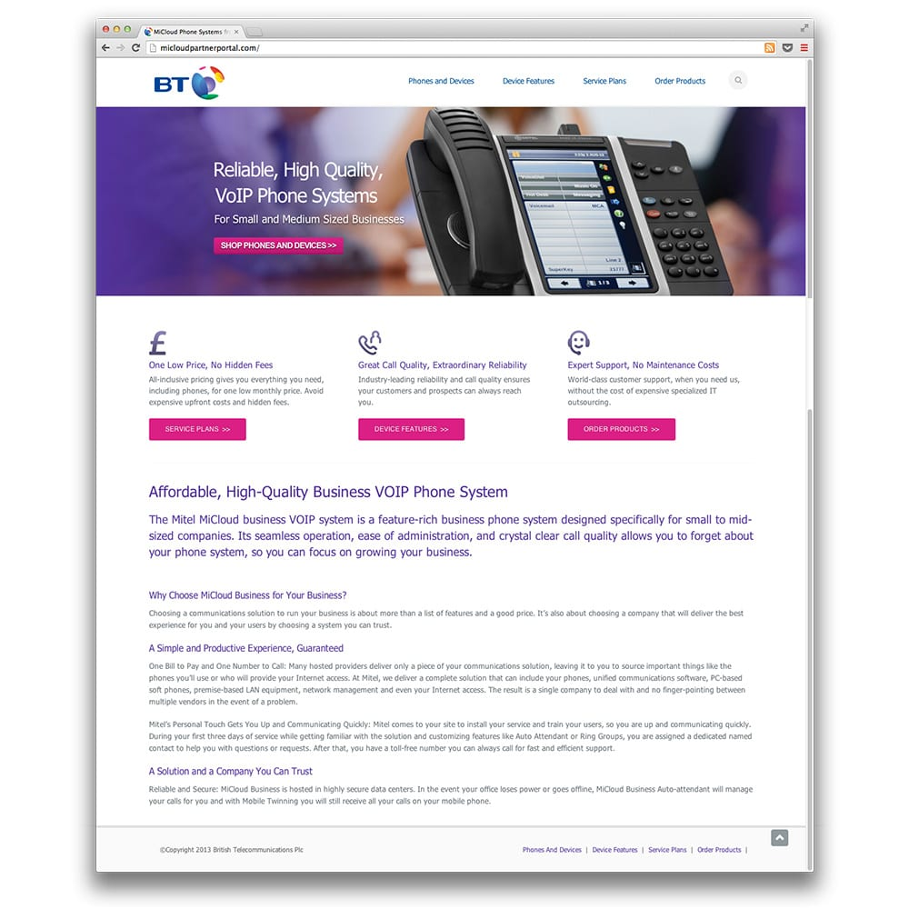 Mitel BT Partner Website