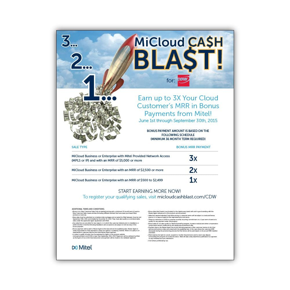 Mitel MiCloud Cash Blast Flyer
