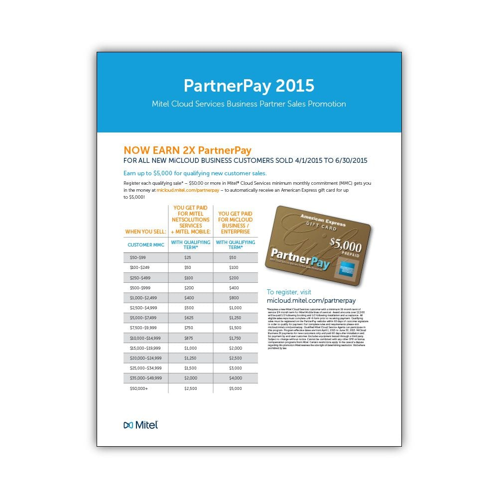 Mitel PartnerPay 2015 Flyer