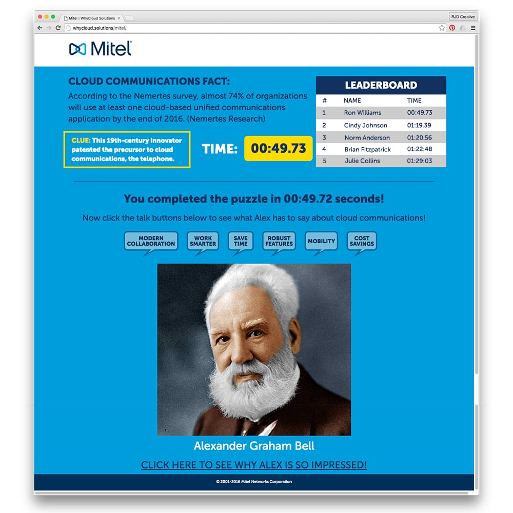 "Mitel ""Why Cloud?"" Interactive Puzzle Microsite 