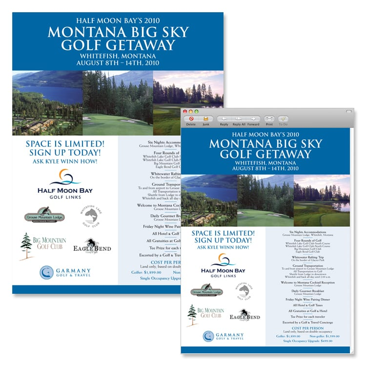 Garmany Golf & Travel Experience Poster and Email