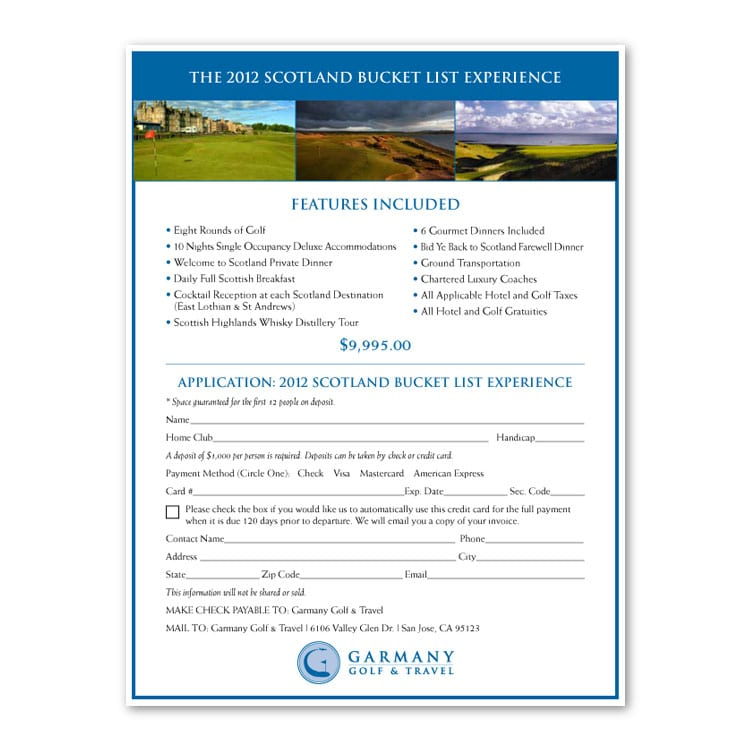 Garmany Golf & Travel Scotland Application