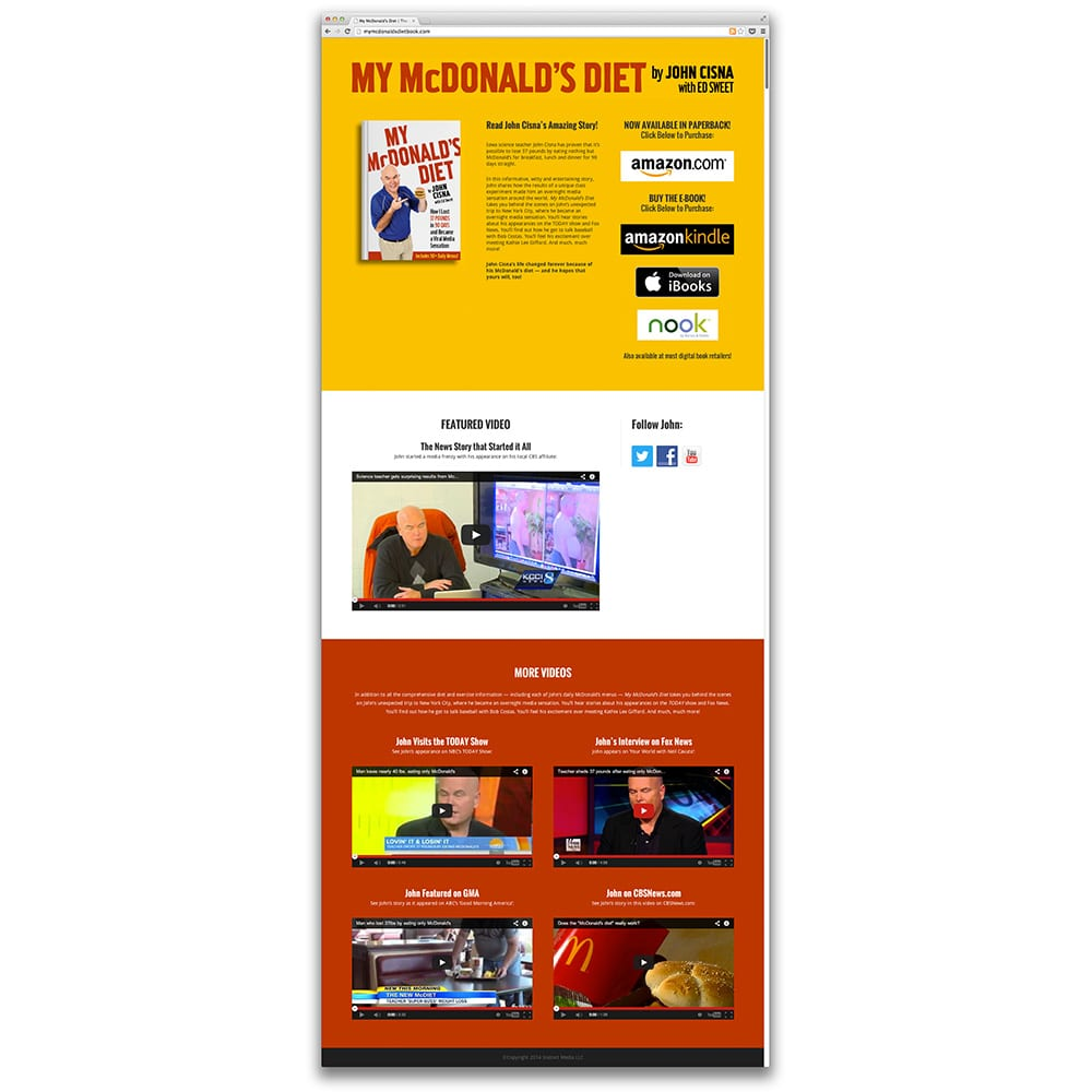 My McDonald's Diet Book Landing Page