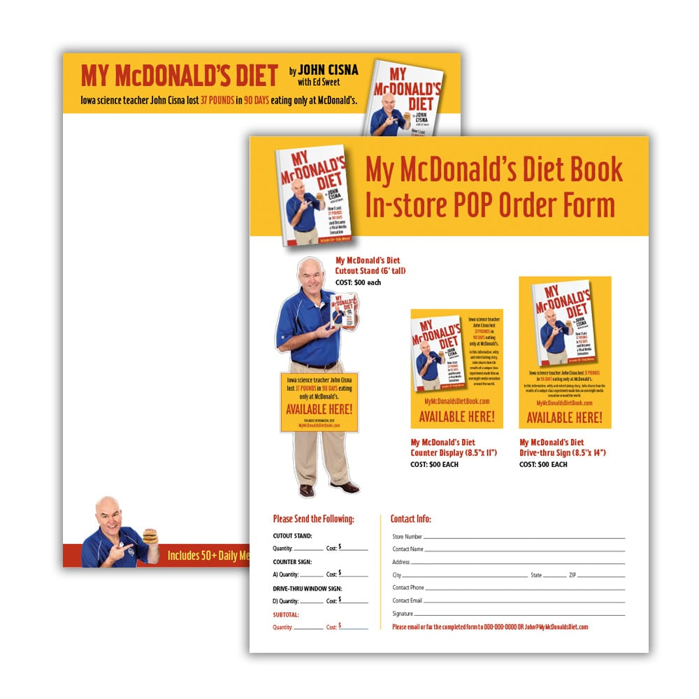 My McDonald's Diet Book Sales Sheets