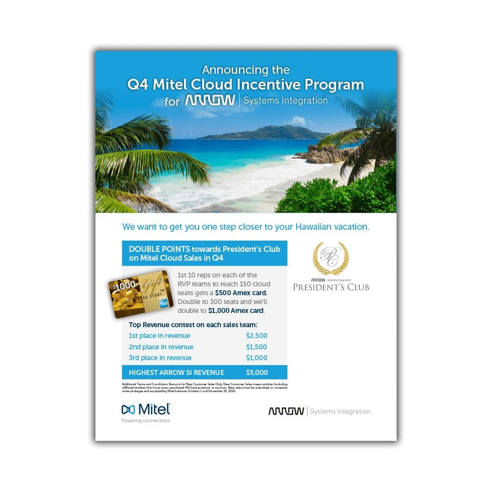 Mitel & Arrow Communications Q4 President's Club Promotional Flyer