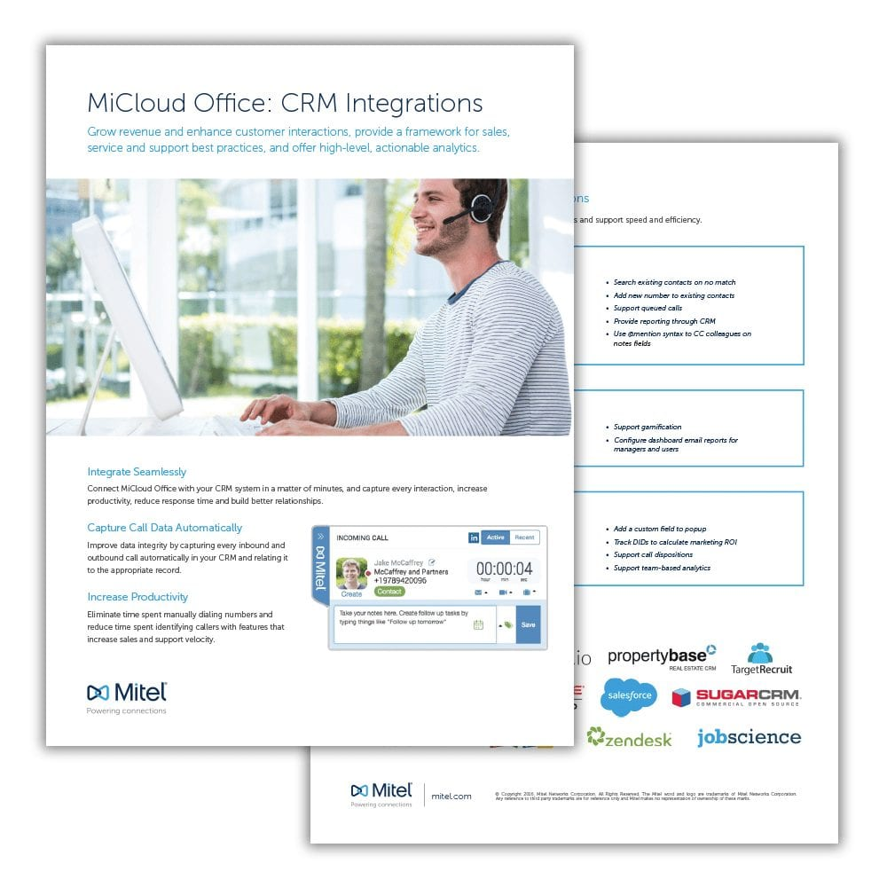 Mitel MiCloud Office CRM Integrations Datasheet