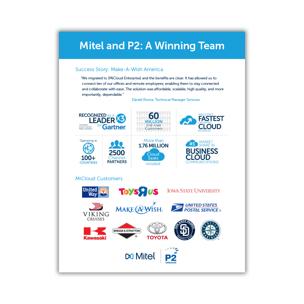 Mitel MiCloud and P2 Partner Sales Flyer