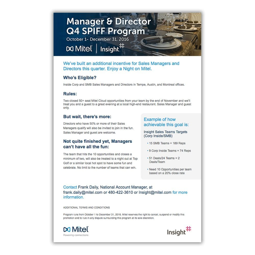 Mitel & Insight Q4 Managers Promotional Email